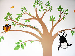 children s wall mural featuring a personalised tree design