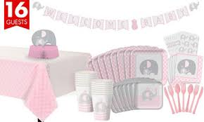 baby shower kits pink baby elephant baby shower party supplies party city