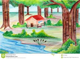 natural scenery drawings children colourful scenery kids
