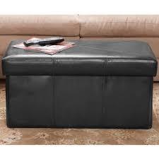 collapsible design black leather folding storage ottoman seat ebay