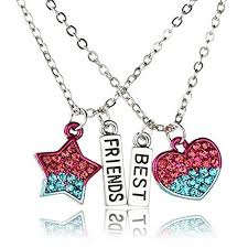star friendship necklace images Sexy sparkles 2 pcs set best friends silver tone pentagram star heart jpg