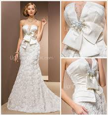 Chapel Train Wedding Dresses Mermaid Trumpet Strapless Chapel Train Chiffon Satin Tulle
