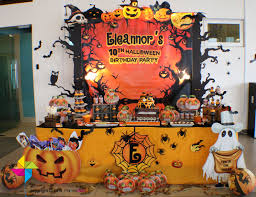 Halloween Birthday Themes by A Spook Tacular Halloween Themed Backdrop And Candy Buffet For A