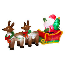 Lighted Sleigh And Reindeer by Glitzhome 6 89 Ft L Lighted Inflatable Santa Sleigh Decor