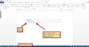 daftar isi cara membuat titik titik daftar isi pada microsoft word terbaru