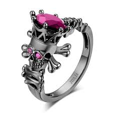 black and pink engagement rings jeulia black skeleton cut created pink sapphire skull