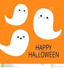 happy halloween flying ghost spirit set three scary white ghosts