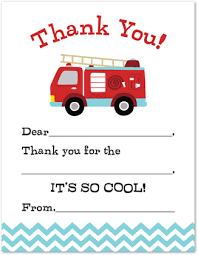 fire truck kids fill in birthday thank you cards stationery thank