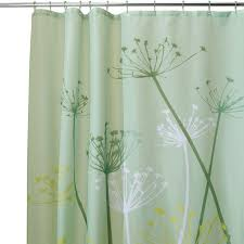 interior pleasing white curtains with green leaves for shower