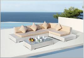 modern outdoor inspiration with white sofa cream seat cushion