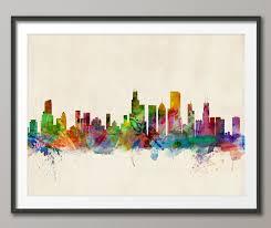 Chicago skyline chicago illinois cityscape art print 470