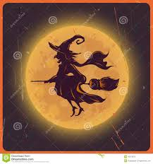 halloween background witch halloween background with silhouette witch against moon vintage