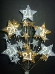star age 21st birthday cake topper decoration in silver u0026 gold