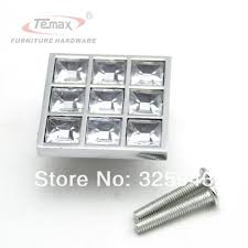 10pcs 40mm clear crystal zinc alloy square type morden kitchen