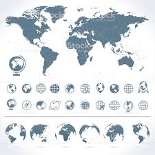 World Map Art World Map Globes Icons And Symbols Illustration Stock Vector Art