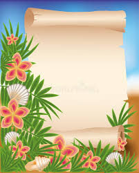 tropical photo album blank paper scroll on summer tropical background stock vector