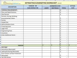 construction estimating spreadsheet estimating and budgeting