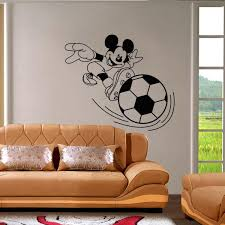Mickey Home Decor Cartoon Mickey Playing Football Wall Stickers Home Decor Wall Art