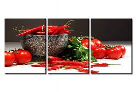 tableau cuisine cadre mural dans la cuisine piments et tomates cuisine nature