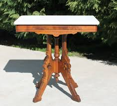 victorian marble top end table c1880 walnut burl eastlake victorian marble top l side parlor