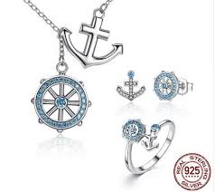 sted jewelry silver blue anchor rudder pendants necklaces jewelry sets