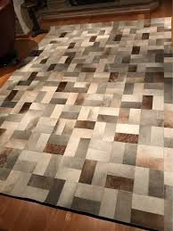 Brown And Grey Area Rugs Europe Style Gray Cow Hair Cowhide Carpet Modern Grey Area