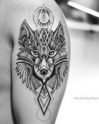 fantastic geometric wolf tattoos design with masculine golfian com
