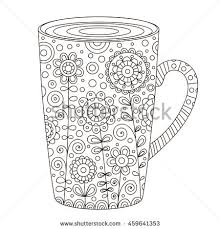 outlined doodle antistress coloring page beautiful stock vector