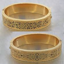 Customized Gold Bracelets 1890s Antique Victorian 14k Solid Yellow Gold Enamel Engraved