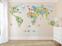 World Map Wall Sticker by Cultural World Map Wall Decal Reusable Vinyl Fabric