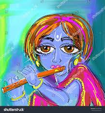 happy krishna janmashtami digital painting poster stock vector