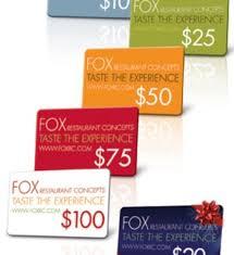 restaurant gift card fox restaurant gift cards taste