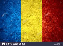 Flag Romania Flag Of Romania Or Romanian Banner On Vintage Background Stock