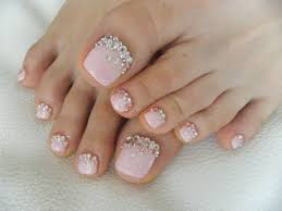 gel pedicure simple stone stone fixed n coated with gel