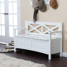 white wooden bench with storages and double arms also back on the