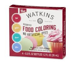 watkins assorted food coloring red yellow green blue 4 count