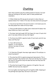 division chunking method worksheet by mad80 teaching resources tes
