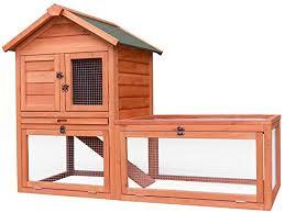 merax pet supplies wood house rabbit hutch outdoor run 56 u201dl x 26