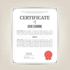certificate of good standing template stock vector freeimages com