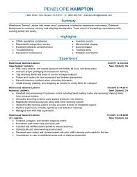 Areas Of Expertise Resume Examples Best General Labor Resume Example Livecareer