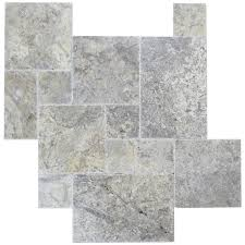 silver brushed chiseled french pattern travertine tiles natural
