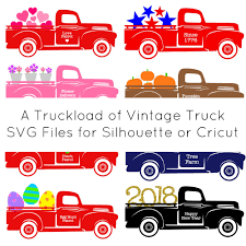 Vintage Ford Truck Art - a year of free red truck holiday svg cut files cutting for business