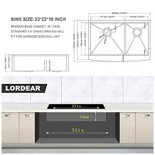 what size undermount sink for 33 inch base cabinet 33 farmhouse sink bowl lordear 33 inch kitchen sink apron front ledge workstation low divide bowl 60 40