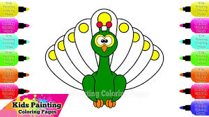 kids painting coloring pages cartoon peacock coloring pages