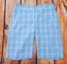 izod cool fx womens golf shorts sz 8 pale blue plaid athletic wear