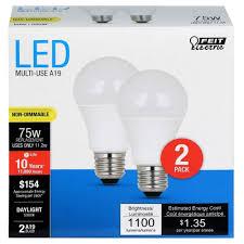 75 watt led light bulbs feit a19 75 watt led light bulb 2 pack 5000k soft white light