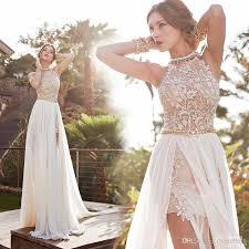 dh prom dresses bonemian prom dresses a line chiffon side slit lace backless court