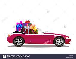 cartoon convertible car car full of presents stock photos u0026 car full of presents stock
