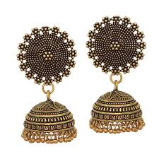 metal earings buy black metal oxidised gold plated jhumka jhumki earrings for