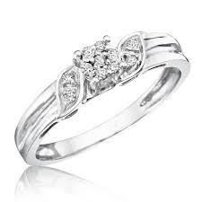 10k wedding ring 1 4 carat trio wedding ring set 10k white gold